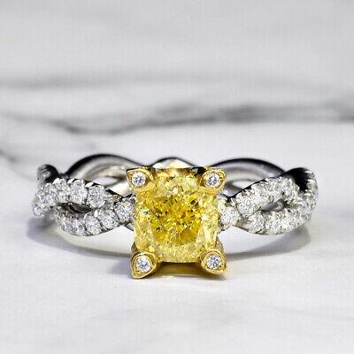2.02 Ct Cushion Cut Fancy Yellow Diamond Engagement Ring VS1 Platinum & 18k Gold