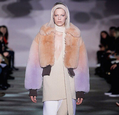 Marc Jacobs Fall 2014 Runway Mauve Degrade Ombre Fox Fur Cropped Bomber Jacket
