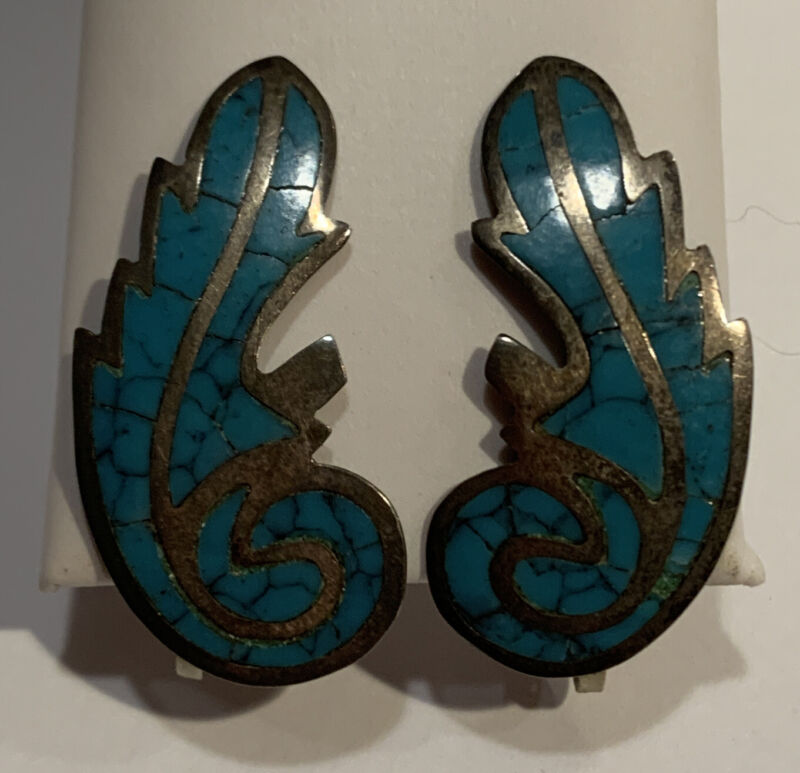 Vintage 925 Sterling Turquoise Signed Taxco AM Alpaca Screw Back Earrings
