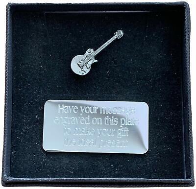 Regalo Personalizado Caja & Mano Hecho Peltre G- Guitarra Eléctrica (Música) Pin