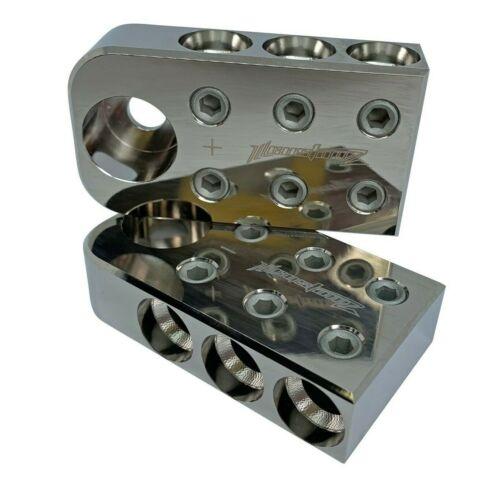 Pair ILL Customz 6 1/0 AWG 0 Gauge Car Audio Battery Terminal Blocks BOLT DOWN