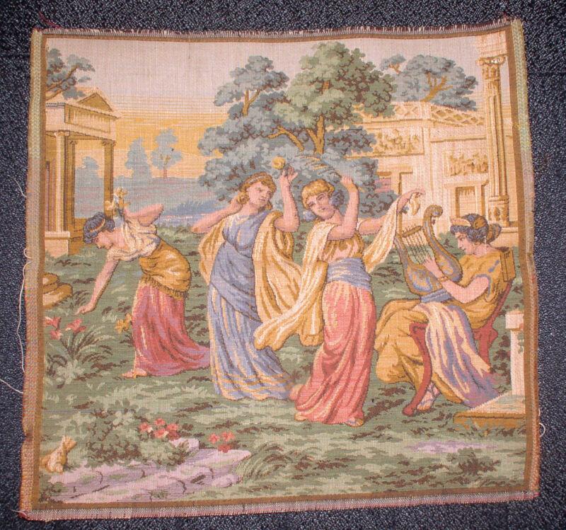 ANTIQUE BROCADE FABRIC TEXTILE ANCIENT WOMEN DANCING MADE IN BELGIUM