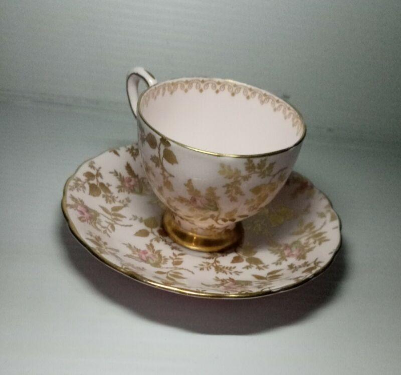 "Vintage Tuscan Bone China Tea Cup And Saucer ""Du Barry Rose"""