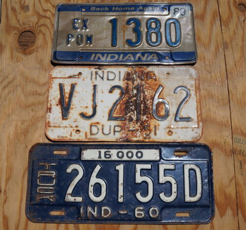 Vintage INDIANA License Plate - LOT OF 3