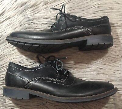 CLARKS GARNET WALK Classic Plain Toe Leather Oxford Shoes Sz 10M Black -