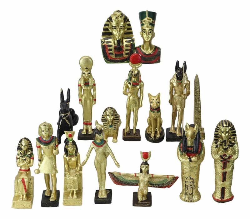Miniature Egyptian Obelisk Gods Goddesses Pharaoh And Royalty Figurine Set of 16