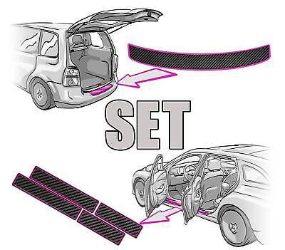 VW TOURAN 1T Ladekantenschutz + Einstiegsleisten SET 3D CARBON SCHWARZ