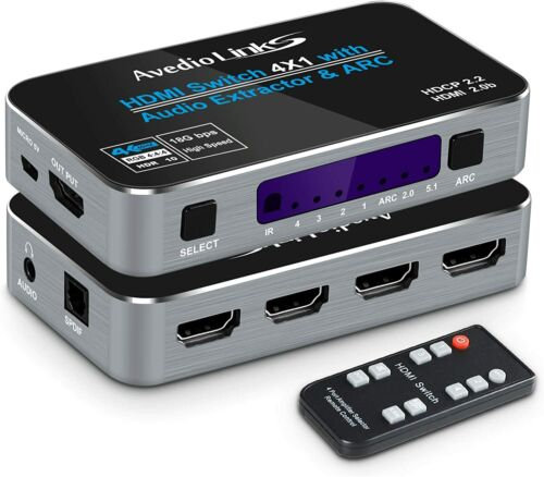 HDMI2.0b Switch 4x1, 4K x 2K @60HZ 4 In  1 Out 3.5mm Audio Support ARC function