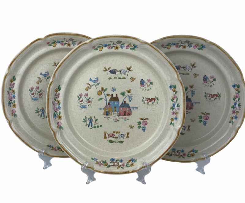 3 - International Stoneware HEARTLAND Farm Scene Scalloped Rim Dinner Plates