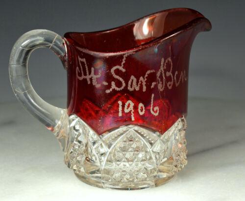 1906 DUNCAN MILLER Souvenir Creamer BUTTON ARCHES Pattern Ruby & Clear EAPG