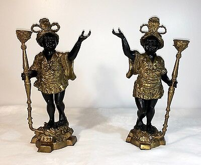 Pair of Vintage Blackamoor Bronze Brass Statues With Candle Holders