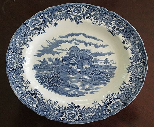 "SALEM English Village Blue 12 1/4"" Oval Serving Platter"