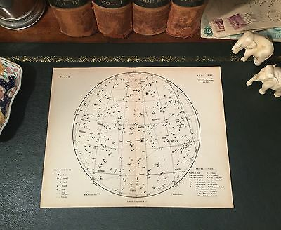 Original 1880 Antique Proctor Celestial Astronomy STAR MAP Libra Virgo Hercules