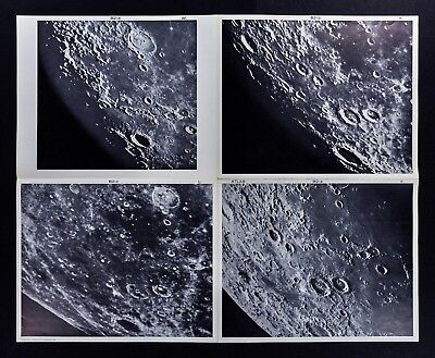 1960 Photographic Lunar Moon Map - 4 Photo Set - Field Atlas B2 a-d Surface