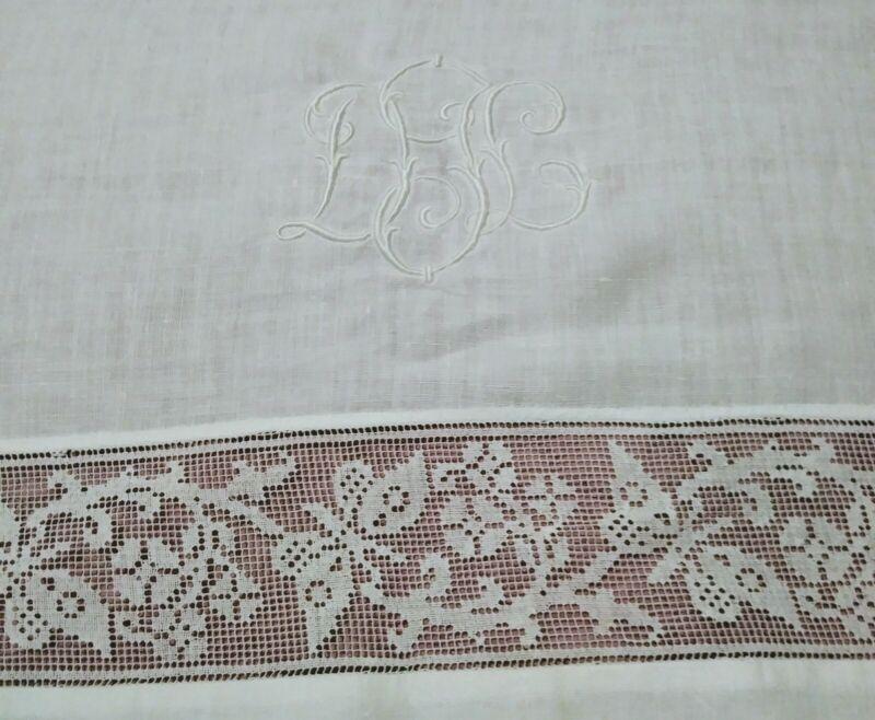 "Gorgeous Vintage / Antique Italian Filet Lace Embroidered Linen Sheet 104""x 71"""