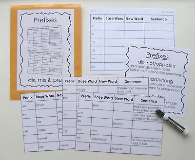 Teacher Made Literacy Center Education Learning Resource Game Prefixes  - Prefix Game