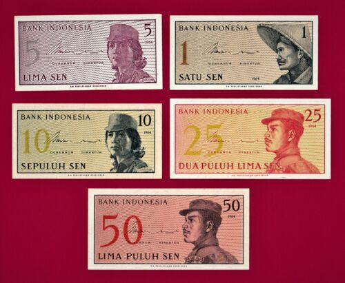Set of 5 x 1964 Indonesian UNC Notes: 1 Sen, 5 Sen, 10 Sen, 25 Sen & 50 Sen 1964