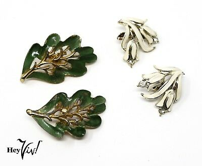 Enamel Leaf Vintage 50s Earrings - 2 Pair Clip on - Coro & Sarah Cov - Hey Viv - 50s Couple Costumes