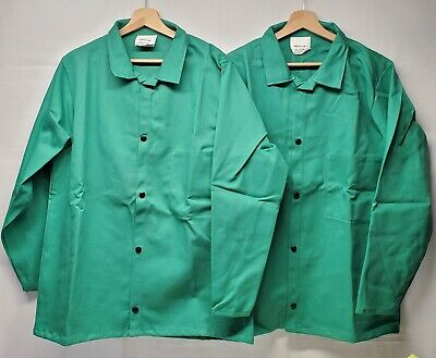 2 Itex Banox Fr3 Flame Resistant Lab Coat Jacket Medium Welding Seafoam Green