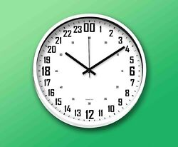 """24 Hours Wall Clock 11.5""""(29.2cm) Round White, White Face"""