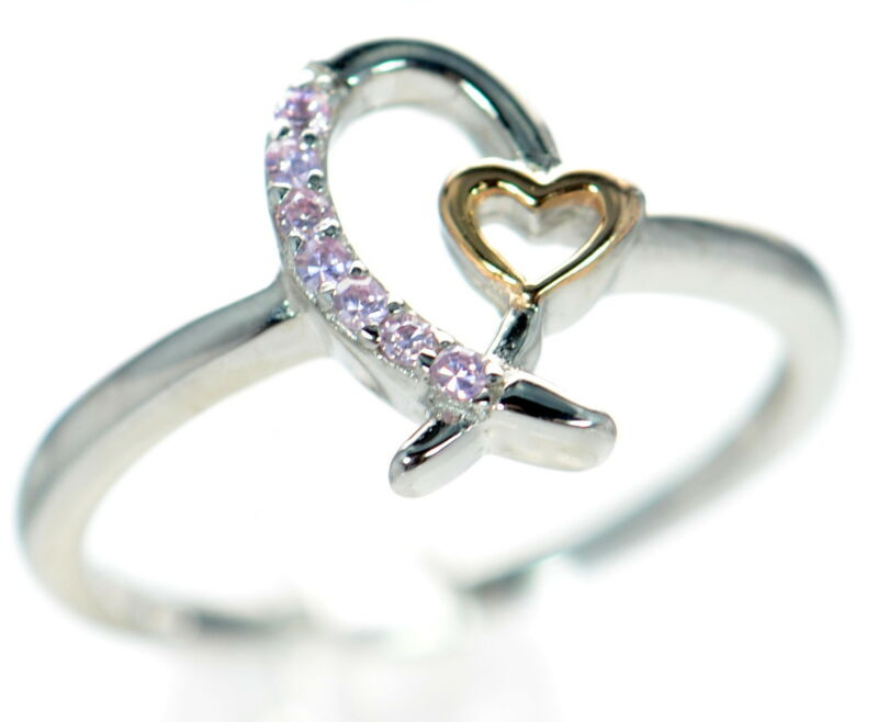 925 Sterling Silver Breast Cancer Awareness Pink Ribbon CZ & Heart Ring Size-7