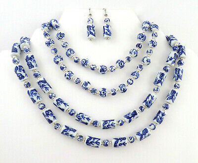 VTG 3 Pc. Set 2 Necklaces 1 Pair Earrings Blue & White Chinese Porcelain Beads