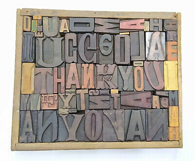 Letterpress Wood Types Collage Thank You 63 Vintagee Random Wooden Types Tc2