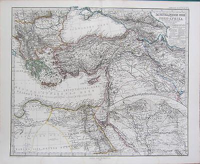 1870 DATED MAP ~ NORTH AFRICA & EASTERN MEDITERRANEAN SEA ~ STIELER HAND COLOUR