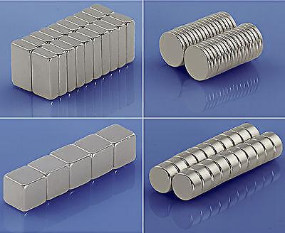 Extreme Neodym Magnete - Größe und Stückzahl wählbar - Echte N52 N50 N45