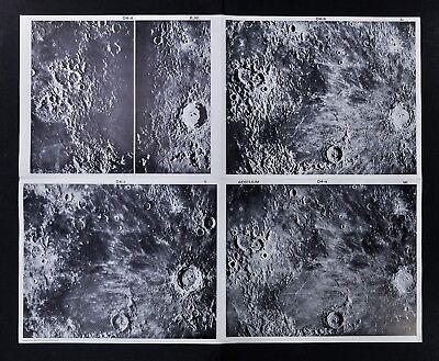 1960 Photographic Lunar Moon Map - 4 Photo Set - Field Aestuum D4 Surface Crater