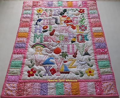 Hawaiian style ABC quilt baby crib blanket hand quilted wall hanging