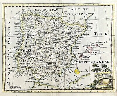 Rare map of Spain & Portugal c1754 by Bowen original copperplate hand colour