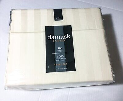 Ivory Damask Stripe - Damask Stripe Full Sheet Set Egyptian Cotton 500 Thread Count Ivory