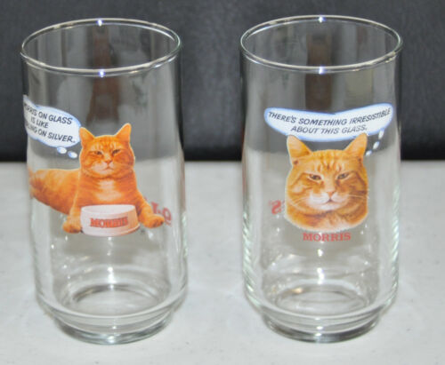 Vintage 1980s 9•Lives Morris the Cat Promo Drinking Glasses Set of Two 9Lives