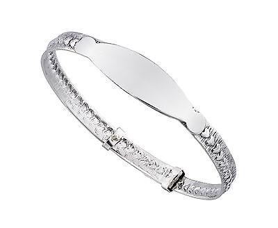 925 Sterling Silver Adjustable  Baby's Christening ID Bangle Bracelet