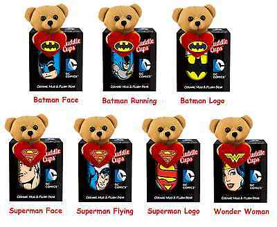 dc comics ceramic cuddle cup mug tiny plush bear superman wonder woman batman