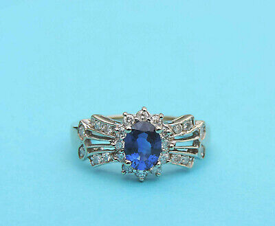 Ladies Genuine Oval Blue Sapphire & Diamond Ring w/ 24 Gen.Dia.~ 14k Yellow Gold