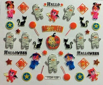Halloween Nail Art Stickers Transfers Ghosts Pumpkins Cats Candy Mummy (YGA128)