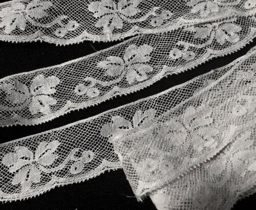 """58"""" x 1 3/8"""" Salvage Remnants Floral Motif  Off-white Alencon Lace Trim Edging"""