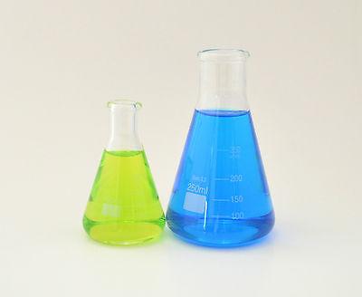 2 Sets Of Erlenmeyer Flasks 100ml 250ml Borosilicate Glass Measuring Lab New