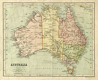 Antique map Australia c1880 by Bartholomew & Chambers original engraved colour