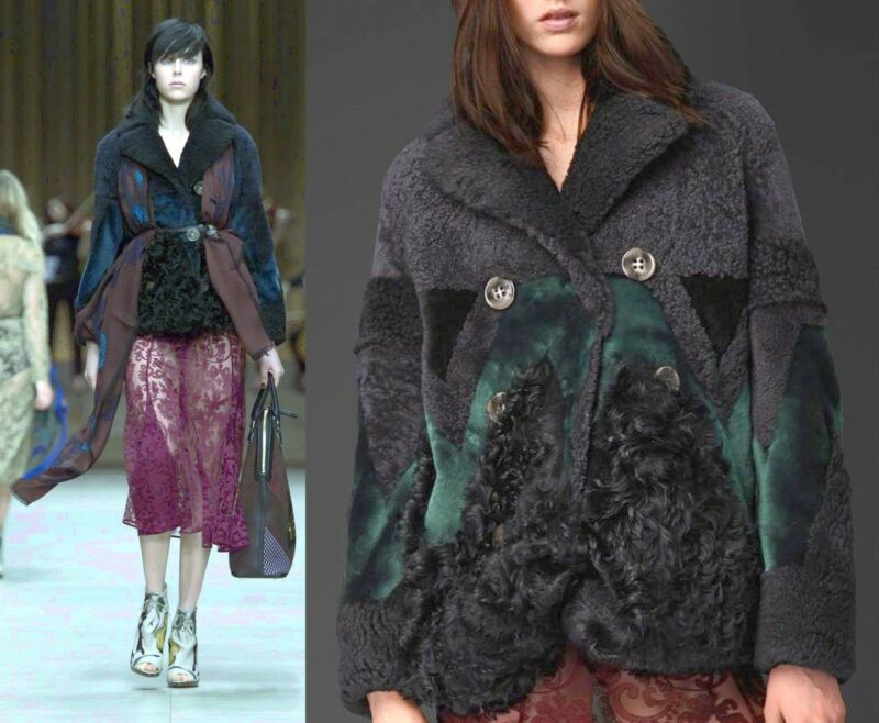 $9,000 Burberry Prorsum 10 12 44 Geometric Patchwork Shearling Jacket Coat Women