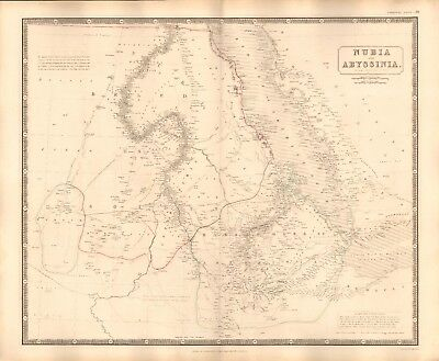1844 LARGE ANTIQUE MAP- JOHNSTON - NUBIA AND ABYSSINIA