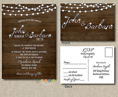 Wedding Invitation Set Suite | Rustic Wood Fairy Lights With RSVP Post Card  - Wedding Invitations With Rsvp