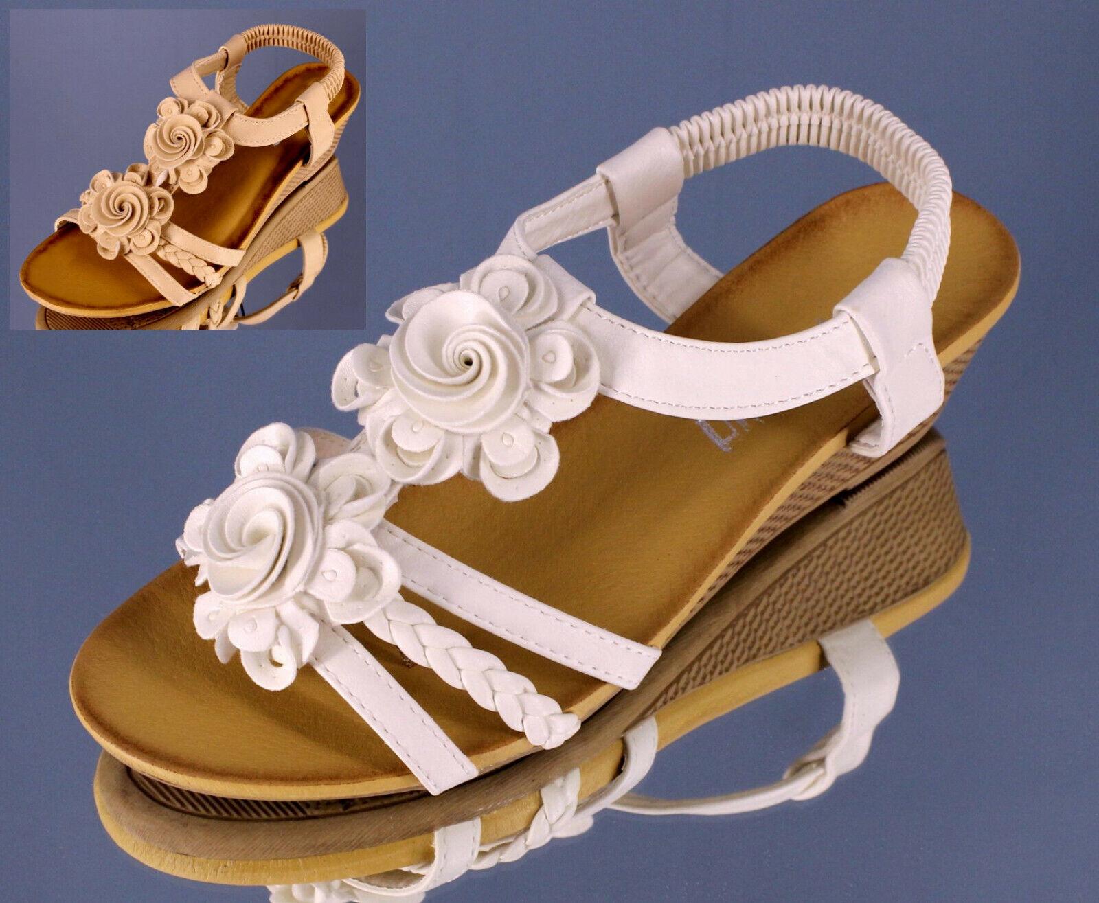 DAMEN Fußbett Keil Sandaletten mit 4cm Wedge Keilabsatz Blumen Sommerschuhe