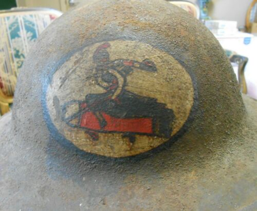 Original WW1 US AEF Doughboy Helmet Painted 101st Ammunition Train Insignia