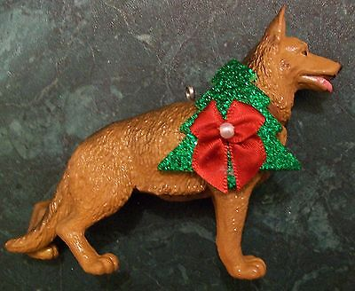Custom Made Tan German Shepard Dog Holiday Christmas Ornament