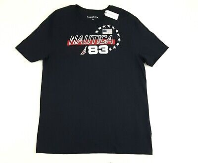 Nautica Mens T-Shirt Size 2XL 3XL Short Sleeve USA Flag Navy Graphic Tee NWT