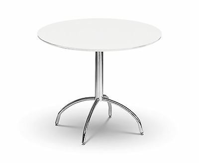 Julian Bowen Mandy Round Circular Pedestal 90cm Dining Table White Chrome