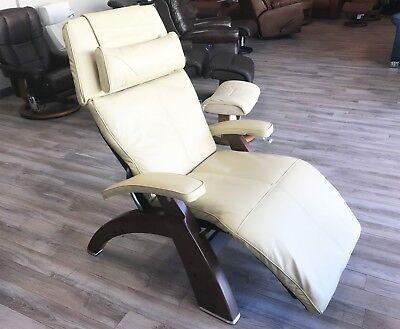 Human Touch PC-420 Dark Walnut Zero Gravity Perfect Chair Ivory Premium Leather